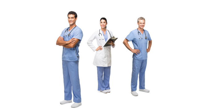 Two male and one female nurse wearing nurse uniforms and shoes